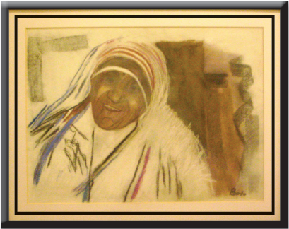 Painting of St. Mother Teresa in the art museum in Humac, near Medjugorje